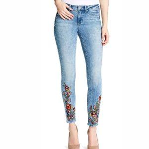 Kiss Me Denim Jeggings Skinny Jeans w/ Flowers